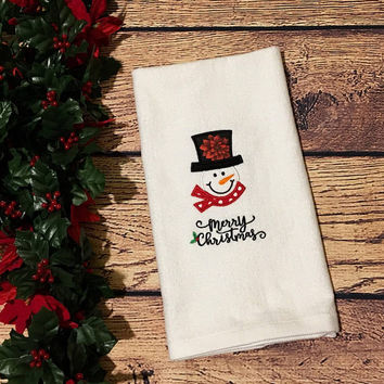 Christmas Hand Towel,Monogrammed,Housewarming Gift,Teacher Gift,Christmas Decor,Snowman with Merry Christmas,Personalized,Kitchen Towel