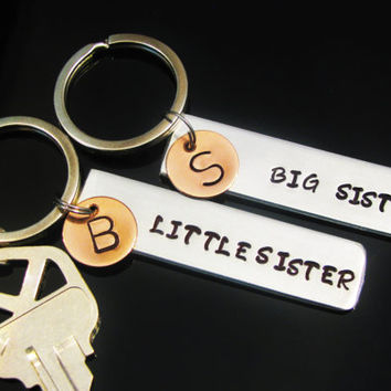 SISTER GIFT SET Key Chains Personalized Keychain Hand Stamped Aluminum Rectangle Big Sister Little Sister Tag with Copper Initial Disk