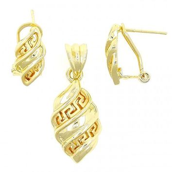 Gold Layered Earring and Pendant Adult Set, Greek Key Design, Gold Tone