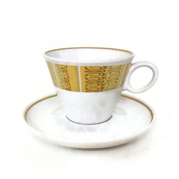 Mid Century Franciscan China-Cup and Saucer-Antigua Pattern-1960's-Gold and Brown Rim-Set of 5-Vintage Dinnerware-Whitestone Ware
