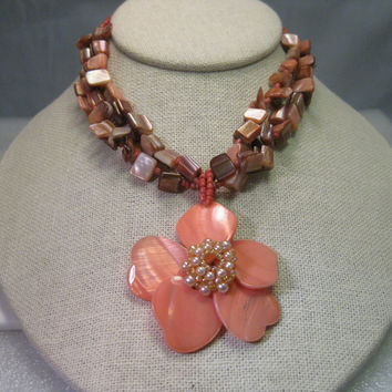 Vintage Shell Multi-Strand Necklace, Floral Pendant & Pierced Earring Set, Coral and Browns, Seed Beads.