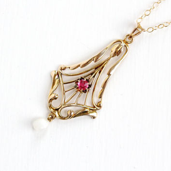 Antique 10k Yellow Gold Simulated Ruby & Seed Pearl Art Nouveau Necklace - Vintage Lavalier Edwardian Fine Pendant 1900s Filigree Jewelry