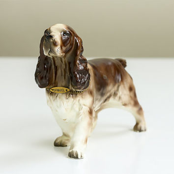 Spaniel, Vintage Figurine Porcelain Dog, Made in Japan, Hunting Dog Figurine, Glass Animal