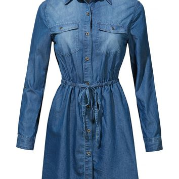LE3NO Womens Long Sleeve Button Up Tencel Denim Shirt Dress with Adjustable Drawstring