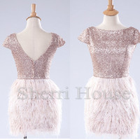 Sequins Lace Bateau Short Sleeves V-Back Short Bridesmaid Celebrity dress ,Feather Evening Party Prom Dress Homecoming Dress