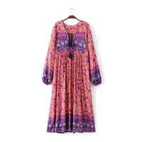 Gypsy Folk Dress Floral Print Long Sleeve Loose Ethnic Fable Vestidos Mujer Boho Dress Maxi Hippie Dress Festival Dress Bohemian