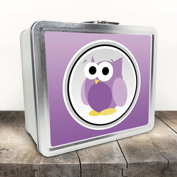 Funny Cute Purple Owl Lunch Box - Purple Gradient Background - Cute Owl Cartoon Illustration - Tin School Lunch Art Craft Supplies Box
