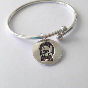 My Mom - Your Child's Actual Drawing of Mom on a Sterling Silver Charm Cuff Bracelet with Removable Threaded Ball End - Made to order