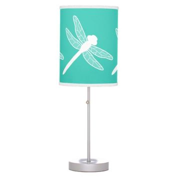 White Dragonfly Silhouette On Turquoise Table Lamps