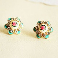 Gorgeous Hand-painted Rose Rhinestone Stud Earrings EH0012