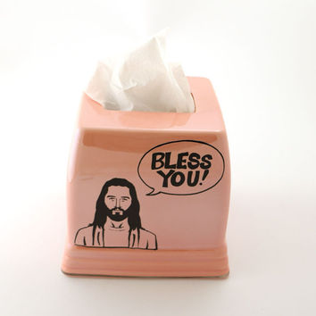 Jesus Bless You , ceramic tissue box cover , kleenex holder , inspirational gift , funny gift , ooak in pink lustre glaze