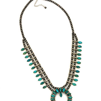 JChronicles Genuine Turquoise Stone Squash Blossom Necklace