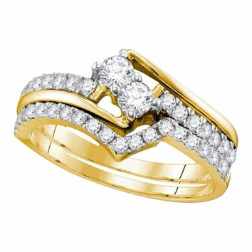 14kt Yellow Gold Women's Round 2-Stone Diamond Hearts Together Bridal Wedding Engagement Ring Band Set 3/4 Cttw - FREE Shipping (US/CAN) (Certified)