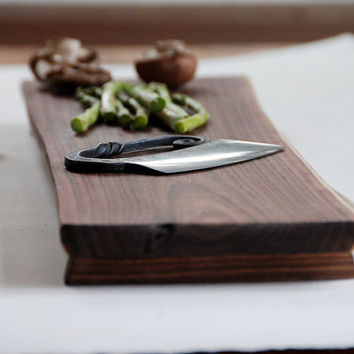 Father's Day Cutting Board Natural Edge Serving by grayworksdesign