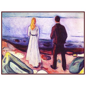 2 People the Lonely Ones by Symbolist Artist Edvard Munch Counted Cross Stitch or Counted Needlepoint Pattern