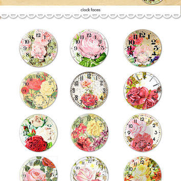 "Digital vintage floral clocks collage sheet / round rose watch faces / 2"" diameter circles / downloadable / printable / altered art"