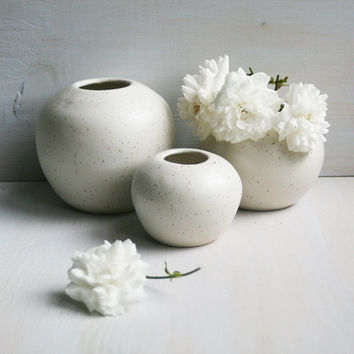 Round White Vases - Set of Three Simple White Ceramic Specked Vases Handmade Small Stoneware Vases - White Pottery