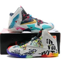 Nike Lebron Xi Premium Men's Shoes Black Lava/silver Ice Galaxy Blue 650884 400 | Best Deal Online