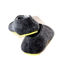 Dark Grey Marl Wool Mens Slip On Shoes Color Sole