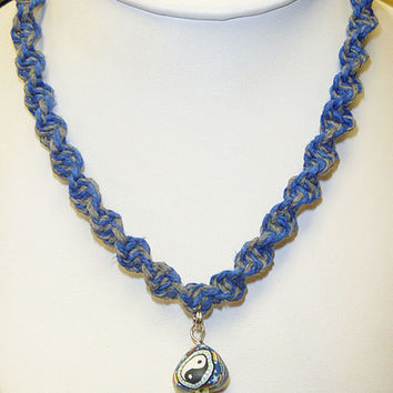 Blue Grey Spiral Hemp Necklace with Glass Fimo Yellow Mushroom Pendant handmade macrame jewelry hippie guys