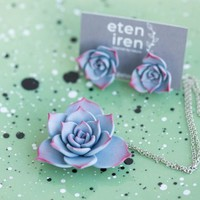 Blue Succulent Set Stud Earrings Pendant Wholesale Small Hypoallergenic Studs Succulent Plants Wedding Bridal Birthday Jewelry Gifts Women