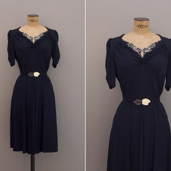 Calloway Dress - Vintage 1970s does 1940s Dress - Vintage Navy Embroidered Rayon Jersey Small S Dress