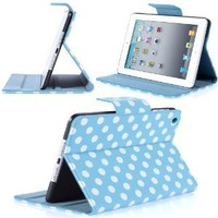 i-Blason Dalmation Series Auto Wake / Sleep Smart Cover Book Shell Stand case Cover for Apple New iPad Mini 7.9 Inch Wifi 3G 4G LTE with Built-in Stand and Polka Dot Design (Blue / White)