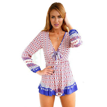 Summer Hot Sale Deep V Butterfly Print Long Sleeve Romper [6033569345]