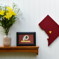 """Washington Redskins  """"State Heart"""" wall art, handcrafted wood with official team colors"""