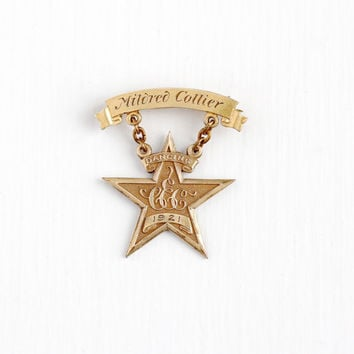 Antique Rosy Yellow Gold Filled Star Dancing Pendant Pin Dated 1921 - Vintage Art Deco Engraved Mildred Collier Award Dangle Brooch Jewelry