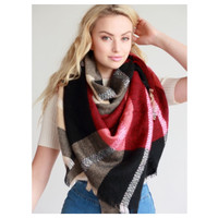 """""""Always My Style"""" Huge Cozy Red Black and Mocha Plaid Blanket Scarf"""