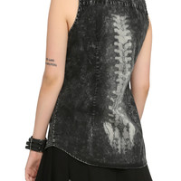 Black Acid Wash Spine Back Top