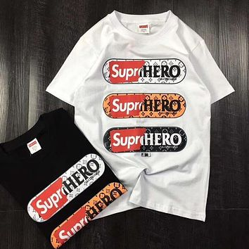 LV x Supreme Hot letters print T-shirt top