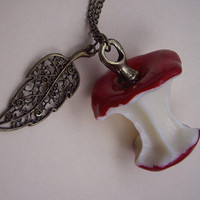 an red apple necklace with a leaf by sweethearteverybody on Etsy