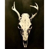 HELLO DEER 16x20 Graffiti and Pop Art Inspired Artwork on Canvas Deer Skull Trophy