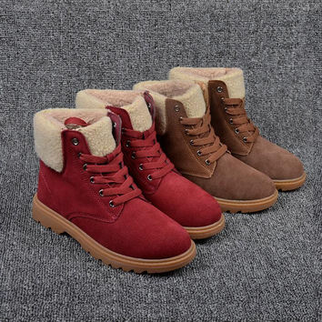 New fashion 2017 boots women Cow Sued winter snow boots short plush boots women round head women women's boots