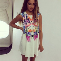 Women Loose Floral Casual Party Dresses Ladies Chiffon Summer Beach Sundress
