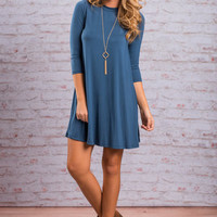 Stay Simple Dress, Teal