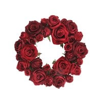 "22"" Burgundy Red Velvet Rose Artificial Christmas Candle Ring"