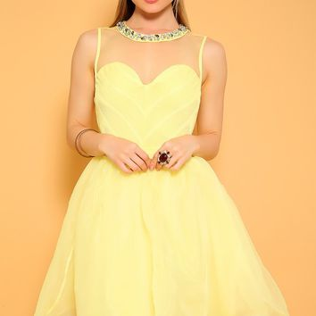 Sexy Light Yellow Sleeveless A-Line Dress