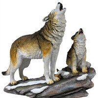 Howling Wolf and Cub Statue - 8392