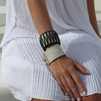 Black and White bohemian leather cuff, wide with macrame decoration Women Leather Bracelet Bangle. NEW. SLC06