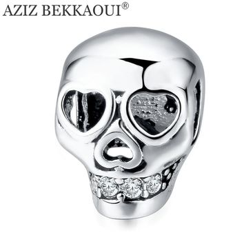 Silver Color Skull Beads fit Pandora Charm Bracelets Diy CrossBones Charms for Jewelry Making Punk Cool Jewelry