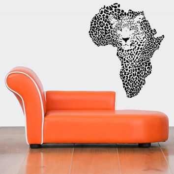 Wall Decor Vinyl Sticker Room Decal Art Cool Leopard Wild African Map Continent Country Spots 796