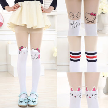 New free shopping children Baby Kids Girls tights cute pantyhose hello kitty Knee lovely tattoo tights pantyhose girls stocking