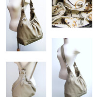 Large leather convertible backpack purse, messenger bag, shoulder tote, pleated bag - Off white/light khaki