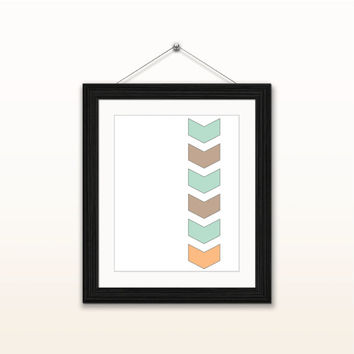 Geometric chevrons - 8x10 digital download, modern, home decor, wall art print, instant download, printable, minimalist, mint orange brown