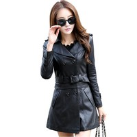 Women Fur Collar Leather Jacket 2017 New Fashion Slim Dual Use Removable Ladies Long Faux  Leather Trench Coat Female Outwear
