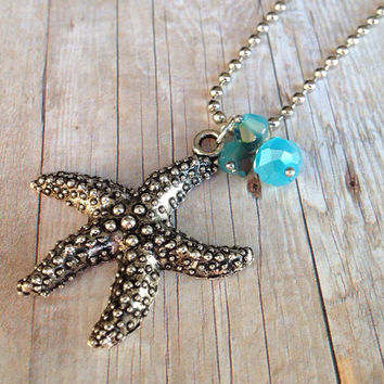Silver Starfish Necklace, Blue Crystals