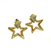 Star Earrings Gold and Rhinestone Posts Door Knocker Style